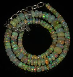 """59 Crts 1 Necklace 3to8mm 14"""" Beads Natural Ethiopian Welo Fire  Opal  611562"""