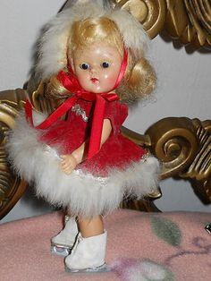 Vintage VOGUE1953 #50 Blonde Flip Ice Skater Red Velveteen Costume Strung Ginny Doll- All Original