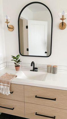 Small Bathroom Wallpaper, Small Bathroom Mirrors, Bathroom Fixtures, White Bathroom, Bathroom Lighting, Neutral Bathroom, Bathroom Hooks, Master Bathroom, Modern Farmhouse Bathroom