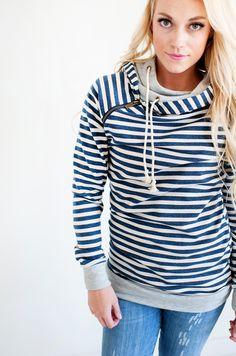 Double Hooded Sweatshirt -  Navy