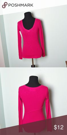 Super Cute Hot Pink V Neck Shirt In excellent condition! Very comfortable, lightweight, and super soft! Buy 3 items and get 1 free plus 15% off your purchase total! Tops