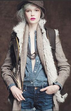 J.Crew #style #fashion this is when denim meets brown tweed  meets layering =cool