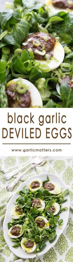 Delicious Black Garlic Deviled Eggs are a perfect Spring dish packed with fresh, rich flavour, vigor and character. Really elegant lunch party starter, ideal served with a small green salad and the zesty dressing as in the recipe.