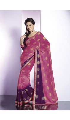 Shop the exclusive designer party wear georgette saree with all over gold foil printed and traditional fancy border.