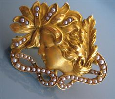 Rare A.J. Hedges Art Nouveau 14K Gold Seed Pearl Nymph Maiden Watch Pin Brooch