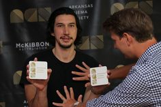 "Adam Driver goofing w/Jeff Nichols during photo shoot by @iShiv ""Maybe I should do something with these coasters?"""