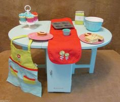 Baking Table and Treats Accessories American Girl Doll food lot of today apron #Accessories