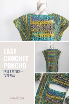 When you're ready to crochet things to wear, a poncho is the perfect place to start. Our easy crochet poncho comes together with basic shapes and assembly.  #BHooked #Crochet #FreeCrochetPattern Crochet Poncho Patterns, Crochet Patterns For Beginners, Crochet Basics, Crochet Cardigan, Crochet Shawl, Easy Crochet, Crochet Things, Free Crochet, Knit Crochet
