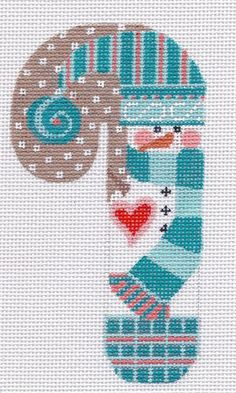 """CHDesigns Needlepoint-Distributed by Danji Designs - 5.25"""" SNOWMAN & SANTA CANES"""