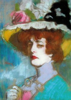 Mrs Kunffy in a Flowery Hat by  József Rippl-Rónai circa 1907