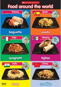 Photographic poster of foods from around the world. Photographic poster of foods from around the world. Around The World Theme, Around The World In 80 Days, Holidays Around The World, Around The Worlds, World Cultures, Countries Of The World, Healthy Dog Treats, Healthy Snacks, Healthy Eating