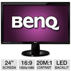 Benq 24IN WS LED 1920X1080 5000:1 MNTR D-SUB/ DVI LCD Flat Panel $159.99 (save $189.34)