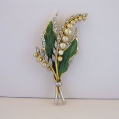 Vintage Lily Of The Valley Painted Enamel And Faux Pearl Brooch Pin