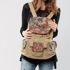 Vintage Ethnic Canvas Traveler Backpack