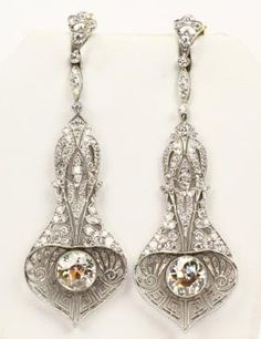 Lot: 6ctw Diamond, Plat. & 18K Art Nouveau Earrings, Lot Number: 0005N, Starting Bid: $1,500, Auctioneer: GWS Auctions Inc., Auction: Russian Aristocratic Family Estate Auction, Date: July 29th, 2017 CEST