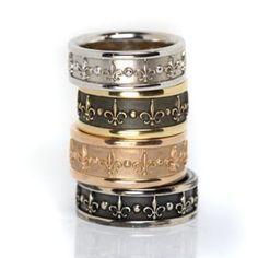 Men's Fleur de Lis Rings from Oliver Smith Jeweler.