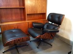 Eames Style  Lounge Chair and Ottoman, Black Leather and Rosewood veneer available at www.kingdomfurnishings.uk #loungechair #interiordesign #eames