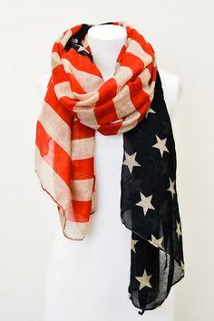 AMERICAN FLAG OBLONG SCARF Elegant Scarf with Patriotic Flag Print