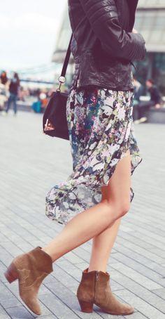florals + moto jacket