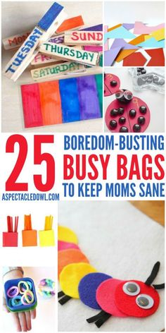 25 Boredom-Busting Busy Bags - These busy bags are a great way to keep kids entertained on road trips, airplane rides or even to combat those I'm bored! moments at home! Fun Activities For Kids, Indoor Activities, Preschool Activities, Preschool Centers, Preschool Class, Activity Ideas, Craft Ideas, Diy For Kids, Crafts For Kids