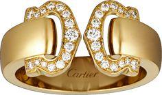 Logo ring Yellow gold, diamonds