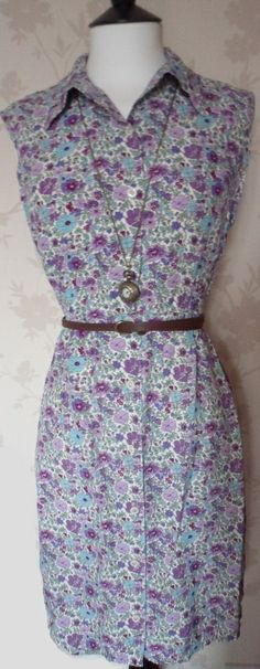 'Viola' size small purple and sky blue floral patterned button down dress uk 6-8 £20.00