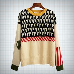Vintage style knitted sweater with mixed pattern design (stripes, houndstooth/triangles, circles). Measurements: Shoulder - 45cm Chest - 114cm Length - 62cm Sleeves - 55cm