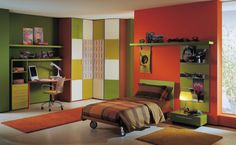 Colorful Kids Boys Bedroom Ideas Pictures with Minimalist Green Wood Study Desk complete with the Storage Space also Simple Red Wood Bed Frame on the Ceramic Tile that have Brown Bedding also Simple Green Wood Bedside Table