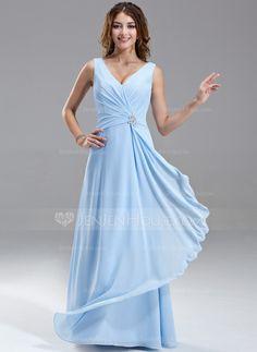 Bridesmaid Dresses - $99.99 - A-Line/Princess V-neck Floor-Length Chiffon Bridesmaid Dress With Ruffle Beading (007004569) http://jenjenhouse.com/A-Line-Princess-V-Neck-Floor-Length-Chiffon-Bridesmaid-Dress-With-Ruffle-Beading-007004569-g4569?ver=1