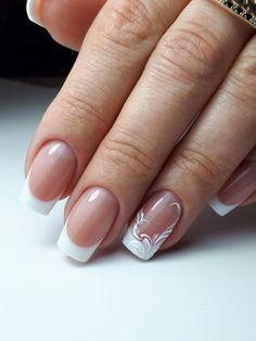 Pin on Wedding Nails French Acrylic Nails, French Nail Art, French Nail Designs, French Tip Nails, Toe Nail Designs, Wedding Day Nails, Wedding Nails Design, Make Up Inspiration, Bride Nails
