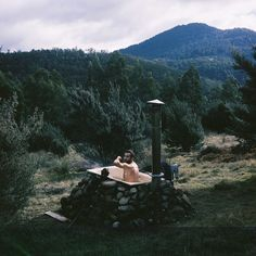 Bathtub outside Tasmanian cabin.  Contributed by...