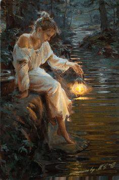 """"""" donna triste""""  L'autore del dipinto è Daniel Gerhartz nato nel Wisconsin nel 1965,  Spero gradisca l'autore,la mia animazione.!!! #arteinmovimento   Æ 02/02/2016"""