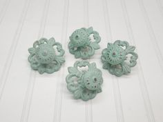 Shabby Chic Knobs/ Green/ Light Green/ Cabinet Knobs/ Knobs/ Drawer Pulls