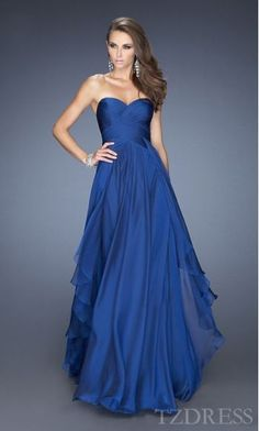 Fashion Long Chiffon Natural Royal Blue Sleeveless Prom Dress In Stock tzdress6411