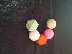 Handmade polymer clay beads with hedron geometric beads