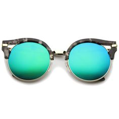 - Description - Measurements - Shipping - Bold and modern, these flat lens sunglasses feature a half-frame silhouette with unique cutouts at the corners. The slim metal temples and nose bridge add to