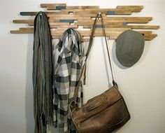 Industrial contemporary modern wall coat rack or towel rack upcycled wood
