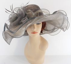 New Woman Church Kentucky Derby Wedding Sinamay 3 Layers Dress Hat 3155 Gray #cc #KentuckyDerbyChurchWeddingTeaPartyDressHat