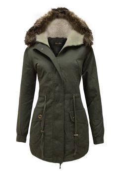 CEXI COUTURE NEW LADIES FAUX FUR HOODED QUILTED PADDED LINED MILITARY PARKA JACKET COAT 8-16