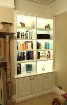 Built In Bookcase Lighting Inspirational Wardrobe Pany Floating Shelves Boockcase Cupboards Alcove Storage, Alcove Shelving, Room Shelves, Storage Shelves, Storage Ideas, Alcove Cupboards, Built In Cupboards, Bookshelves Built In, Custom Bookshelves