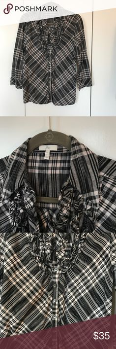 Joie ruffle shirt Joie ruffle shirt in plaid. Comfy and chic! Size M. 3/4 sleeve Joie Tops