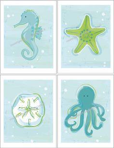 Ocean Sea Life Art Prints for Kids Beach by DandielionsDream, $21.99