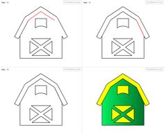 How To Draw Barn For Kids Step By Drawing Tutorial
