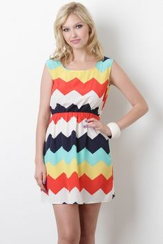 Love the chevron and the colors! Tipsy Chevron Dress from Urbanog.com for $23.10 #urbanog