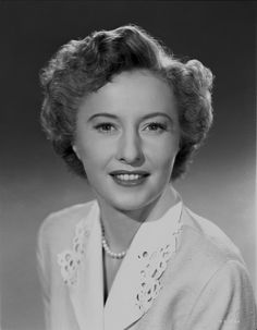 Barbara Stanwyck Close-up Classic Portrait with Pearl Necklace Premium Art Print