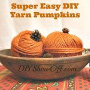 Easy fall craft! DIY yarn pumpkins @diyshowoff #fall #autumn