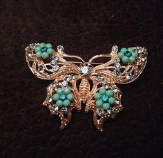 Vintage Butterfly brooch pin blue and silver with rhinestones signed SP Wlind on Etsy, $9.99  I need this!!