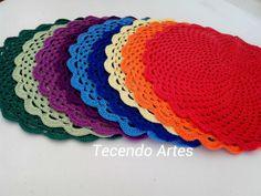 Tecendo Artes em Crochet: Encomenda de Sousplat Coloridos Concluída!