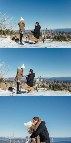 Everything about this snowy mountain proposal is a winter fairytale.