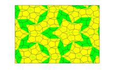 Teselación Penrose verde y amarillo.